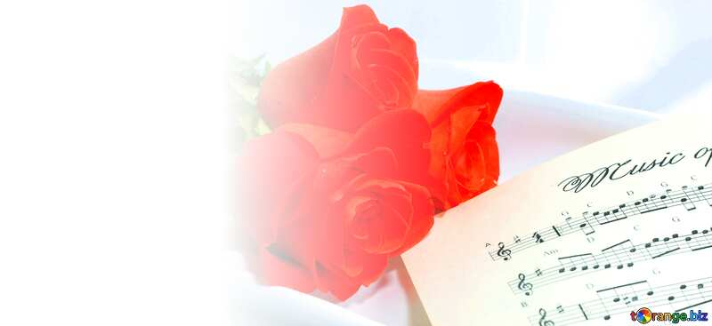 Postcard white background left music and flower №7255