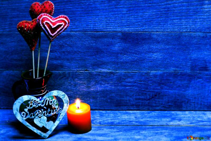 Love background with candles blue colors №49216