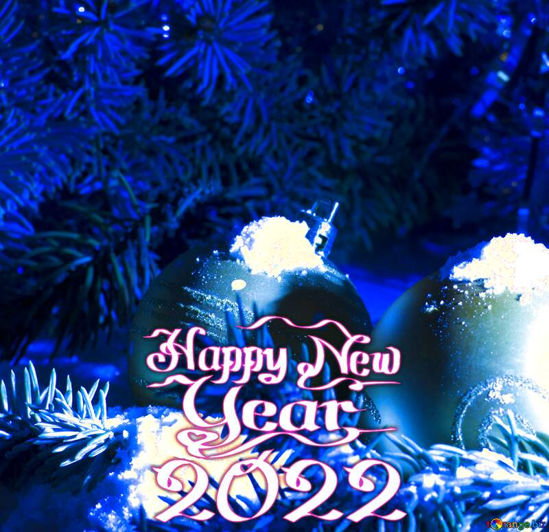 Christmas card blue  happy new year 2021 №15370
