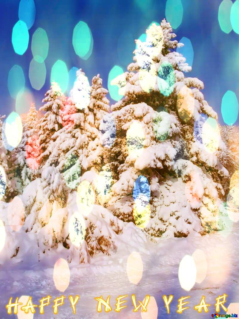 Snow  Trees  happy new year  Christmas background №10520