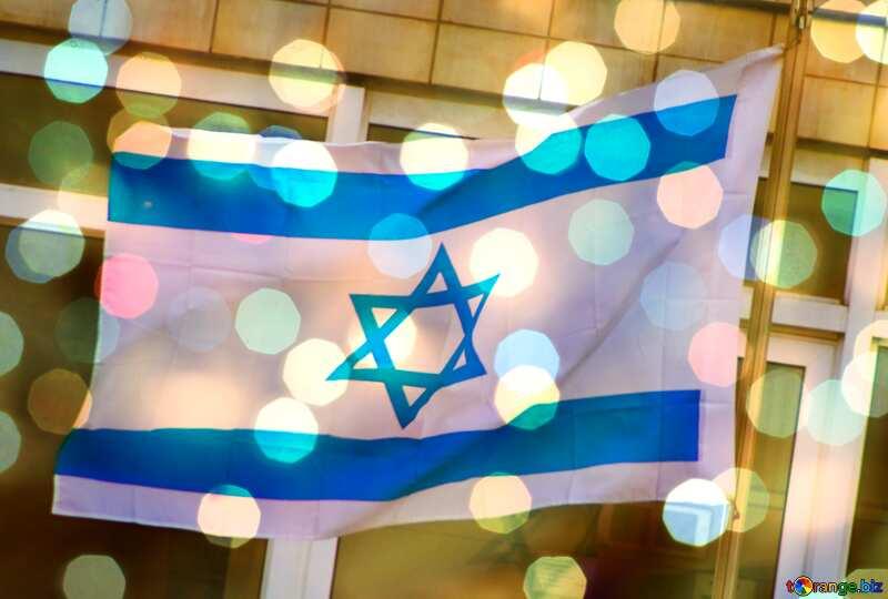 Israel flag bokeh  background №14752
