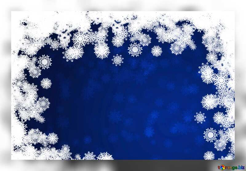 Blue New year background with snowflakes grey fuzzy border №40728