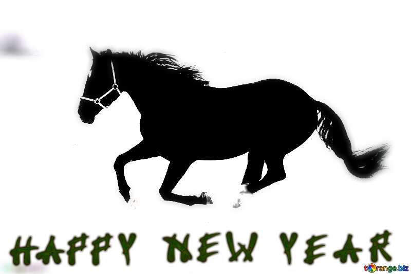 Horse in the snow happy new year card №18191
