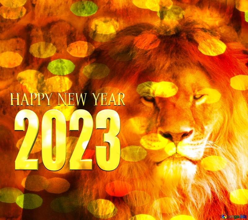 A lion happy new year 2020 christmas background bokeh №44974