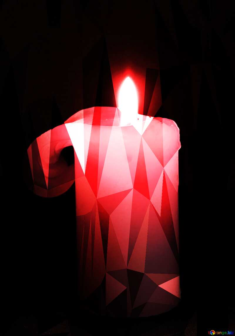 Burning candle polygonal  red  background №2390