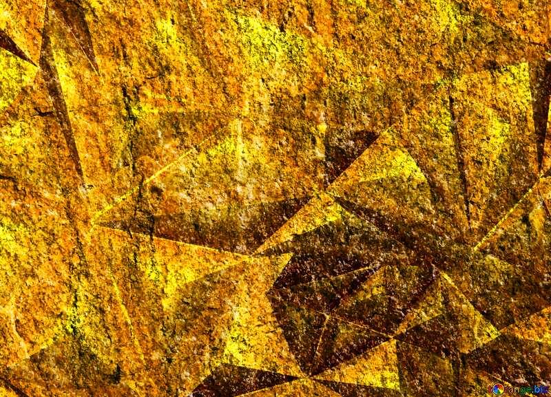 Granite. Rough texture of rough stone polygonal gold metal №1301