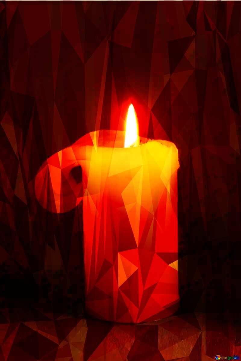 Burning candle polygonal background №2390
