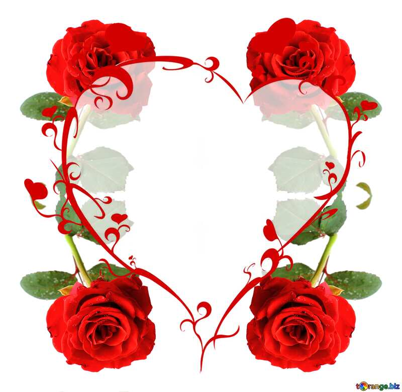 Red beautiful rose pattern heart red frame №17031