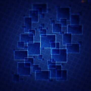 Auswirkung auf den Kopf. Die Wirkung des viel dunklen. Die Wirkung von Bunt strahlend blauen. Unschärfe Rahmen.