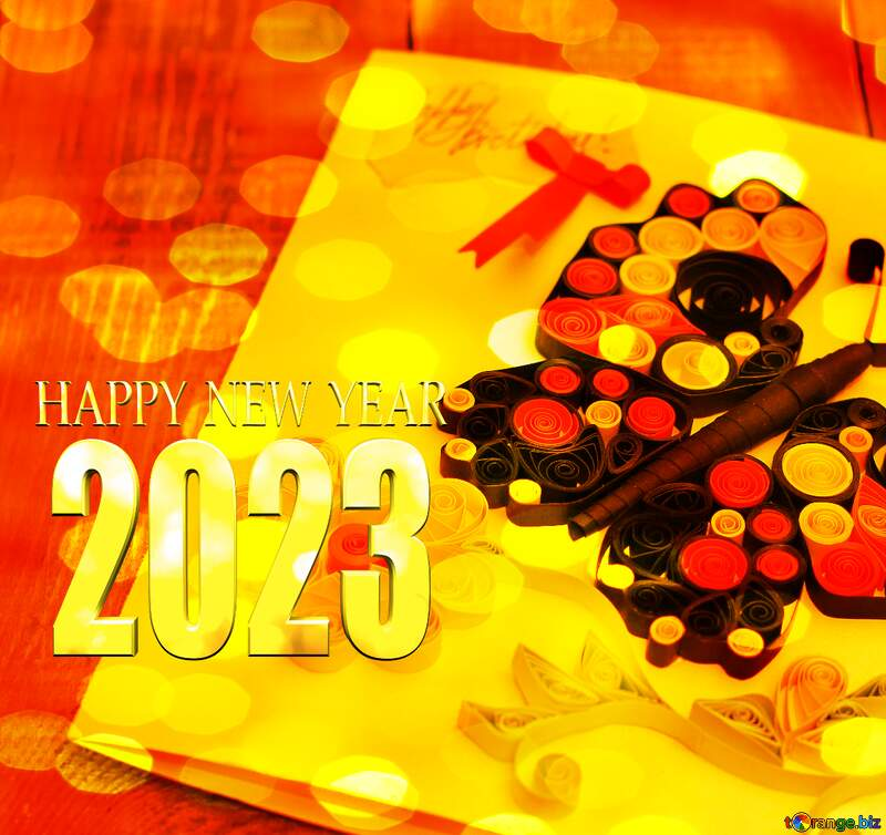 crafts card  quelling  happy new year 2022 №36323
