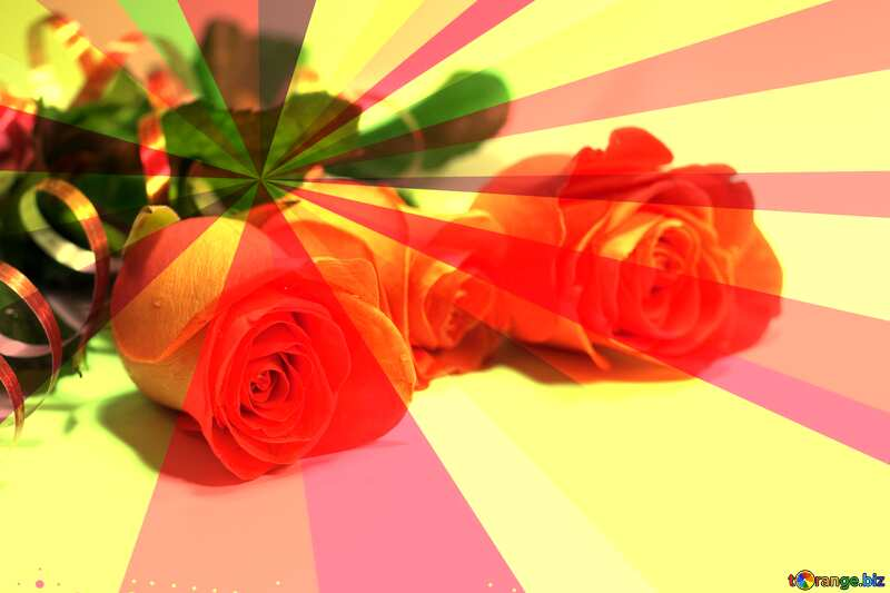 Roses rays background №7203