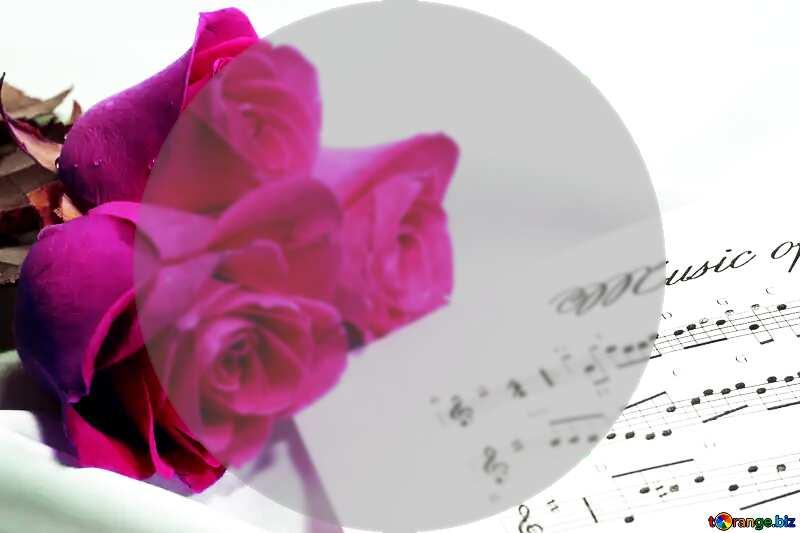 Rose flower music card template №7255