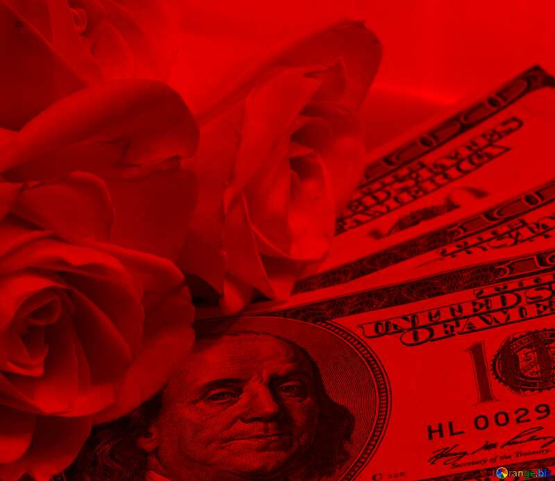 Roses  and  dollars. red background №7269