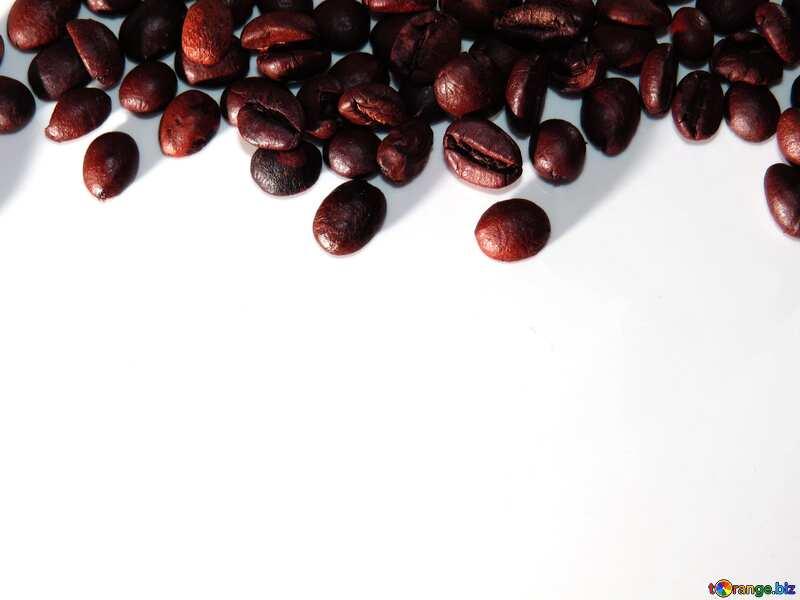 Frame coffee beans white background dark №32291