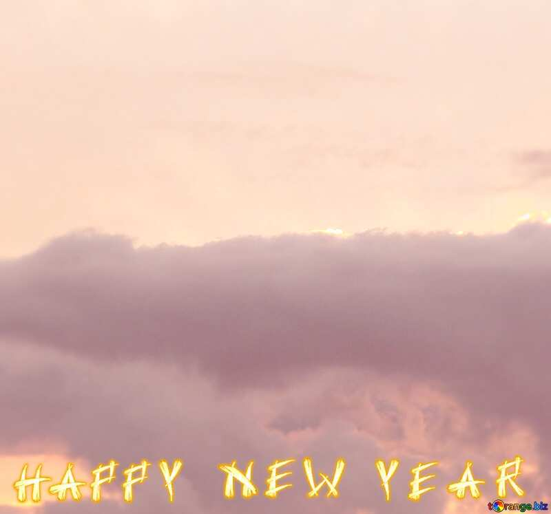 Sunset clouds sky happy  new year card №40997