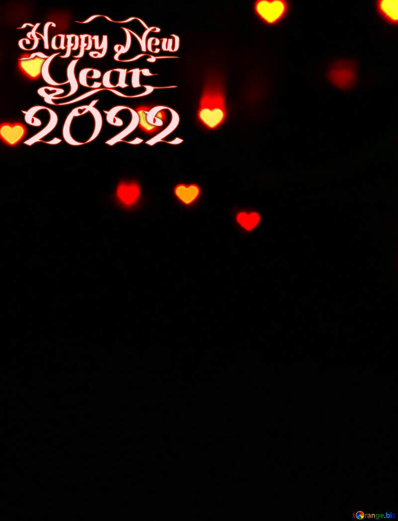 Lights hearts on dark background happy new year 2021 №37845