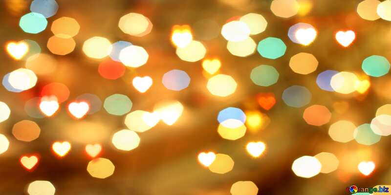 A bokeh lights background with big hearts №37850