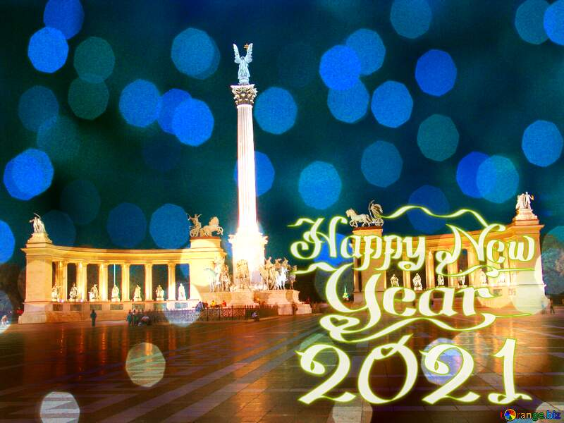 Hungary Budapest Heroes Square Christmas background 2021 №31871