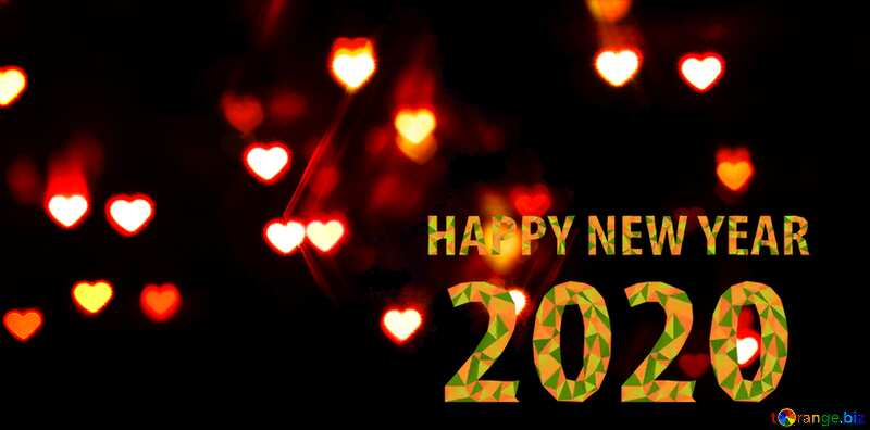 A dark background with hearts 2020 happy new year №37850