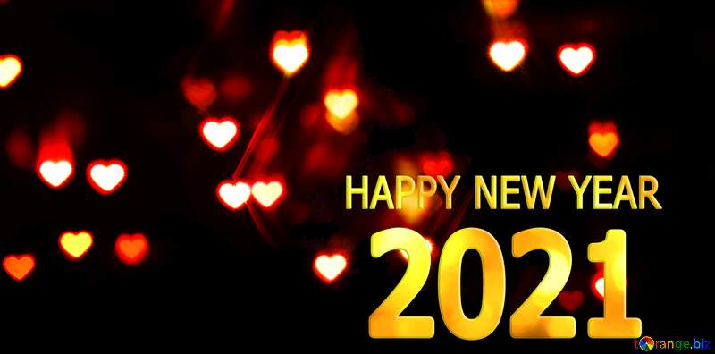 A dark background with hearts 2021 happy new year №37850