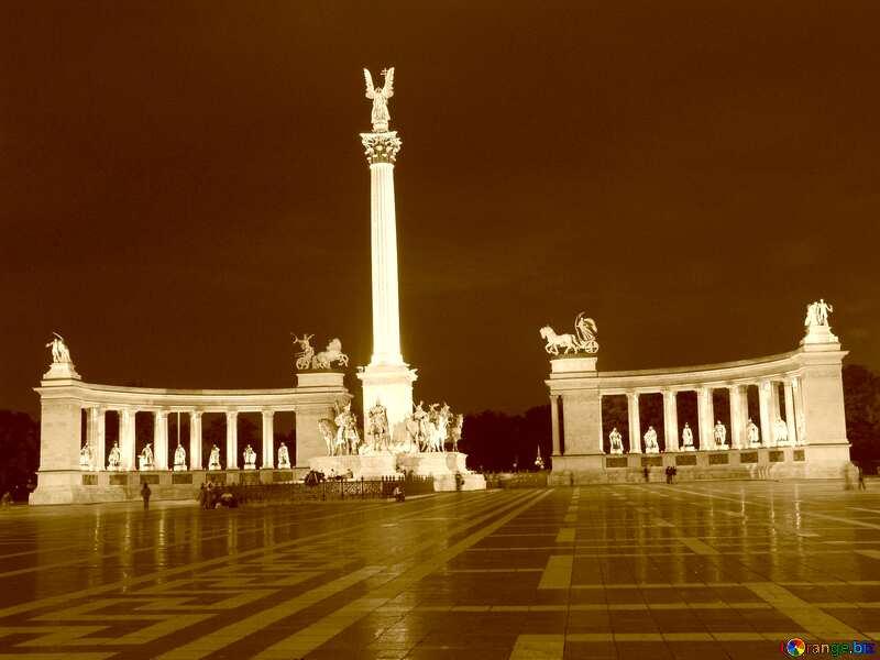 Hungary Budapest Heroes Square sepia light №31871