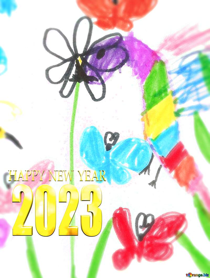 Children`s drawing flowers happy new year 2021 №42783