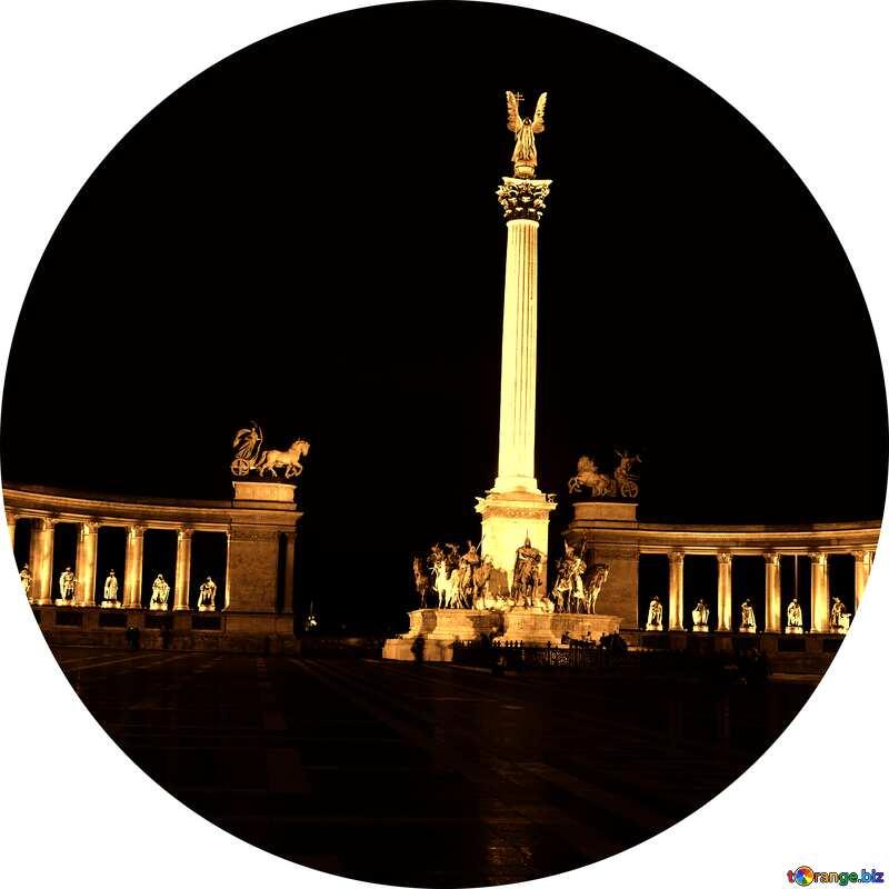 Hungary Budapest Heroes Square dark sepia frame circle №31871