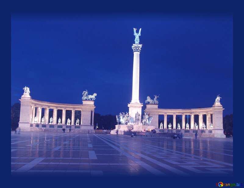 Hungary Budapest Heroes Square dark frame №31871