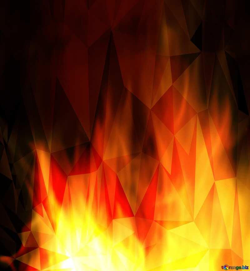 Background. Fire  Wall. polygonal triangles dark №9546