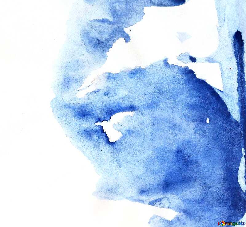 watercolor fragment blue background №42839