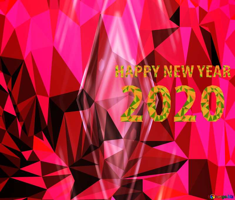 Polygon background happy new year 2020 №51583