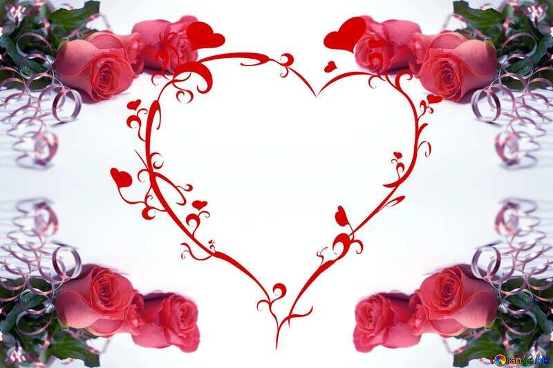Frame heart rose №7228