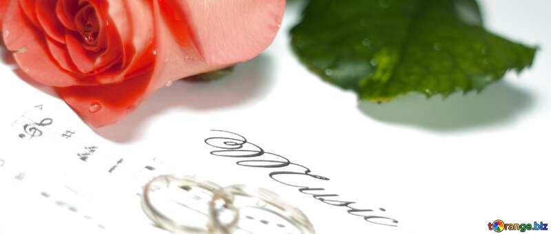 wedding card rose rings music note №7230