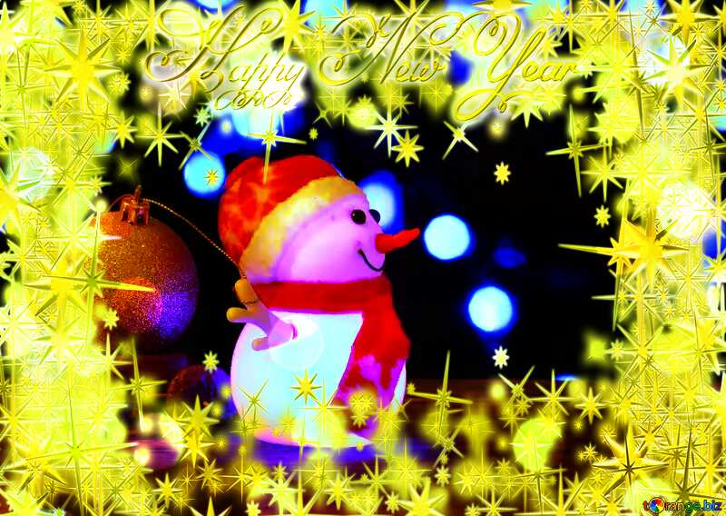 Frame gold Happy New Year stars 3d Christmas Snowman №48112