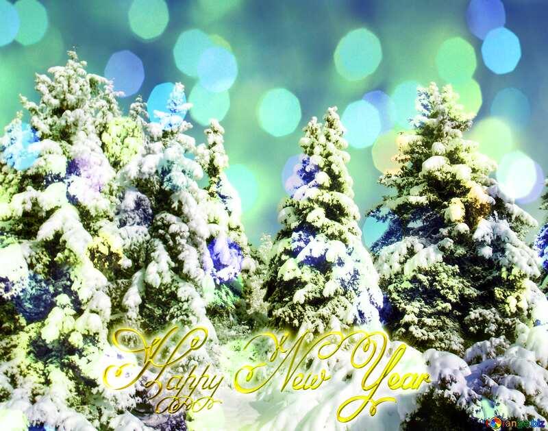 Snow Tree Inscription text Happy New Year gold blue bright bokeh lights №10576