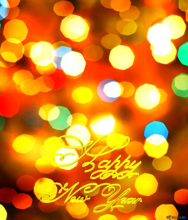 Christmas bokeh  background Happy New Year 3d gold text №24617