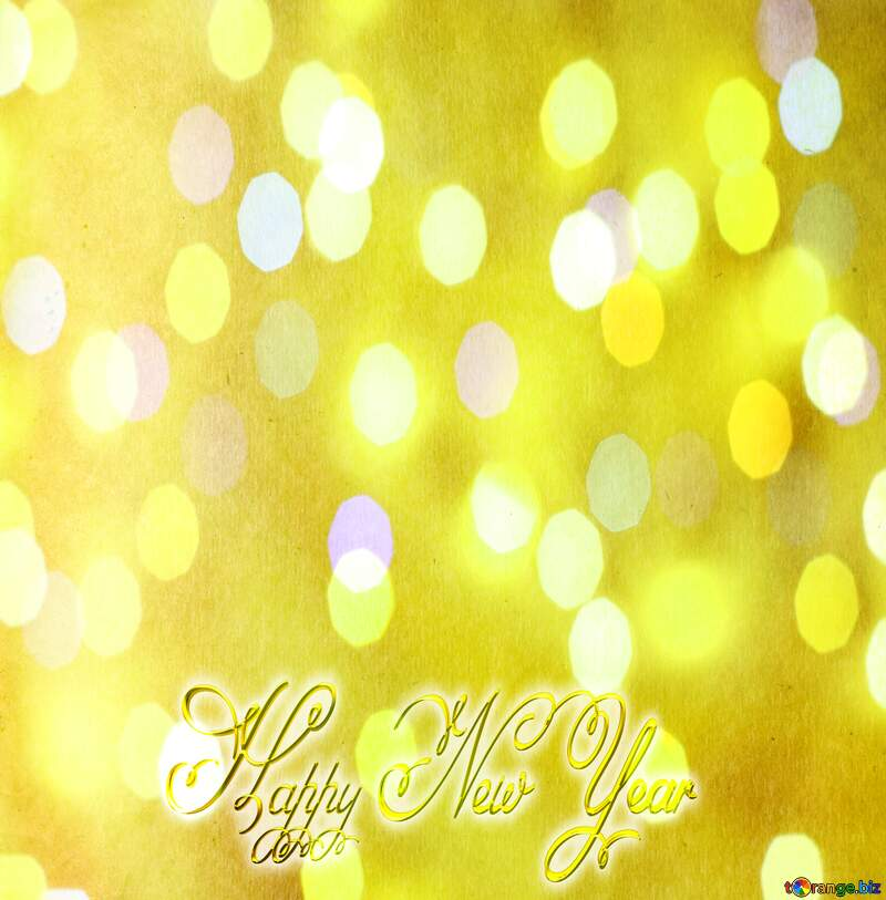 Happy New Year 3d gold christmas yellow old smooth paper №33004