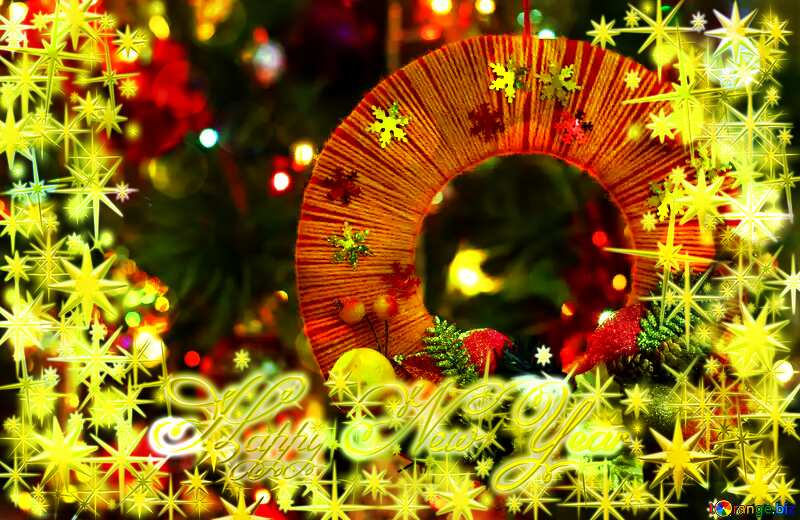 Homemade Christmas wreath on the background of the Christmas tree Frame gold Happy New Year stars 3d №48233