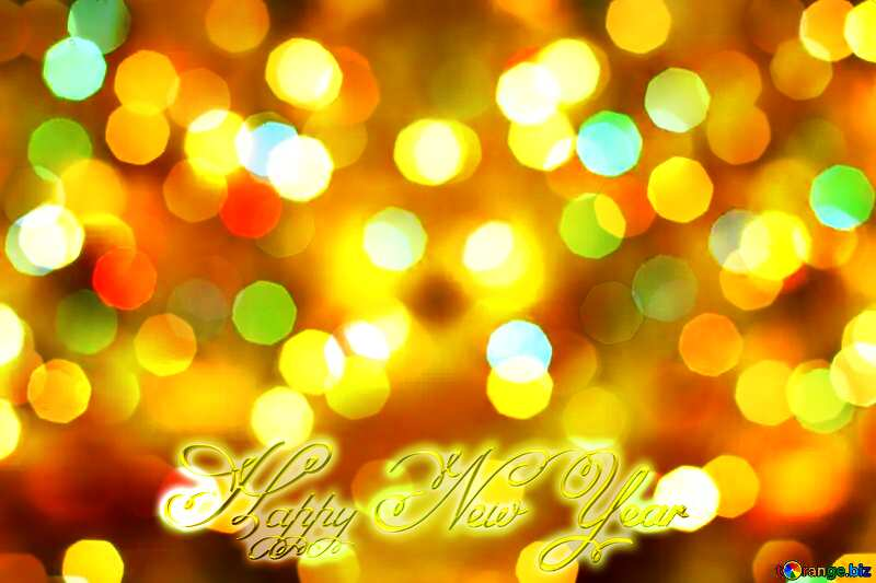Christmas festive lights background Inscription text Happy New Year №24617