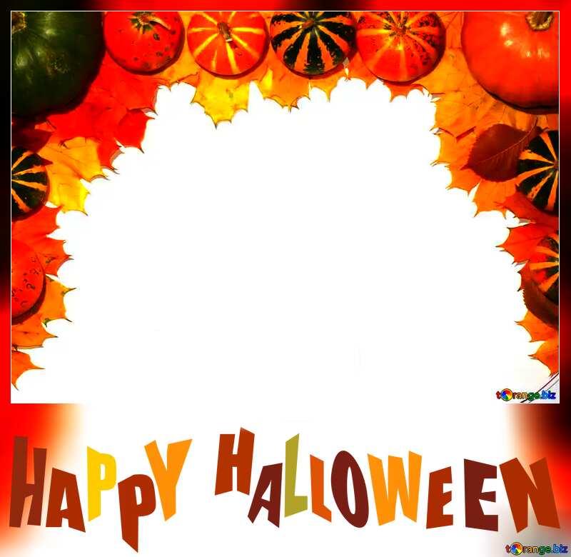 Autumn blank card template with pumpkins halloween №35178