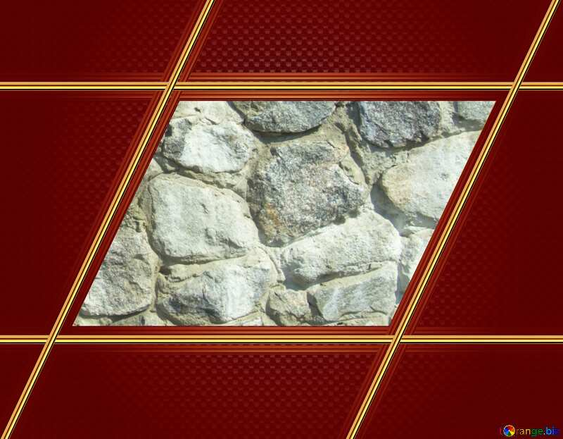 Texture.Stone wall. Red Carbon gold frame hi-tech №12748