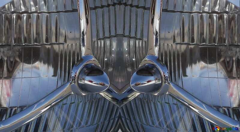 Retro car headlight pattern glass metal №44370