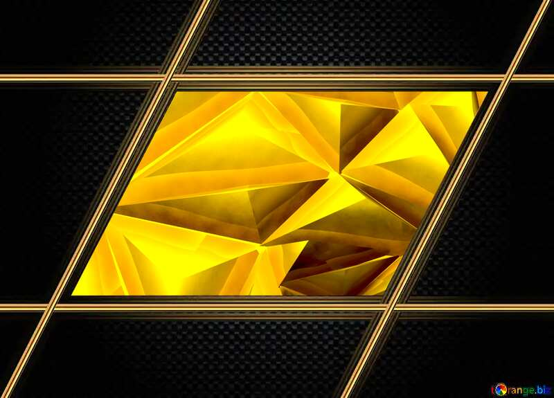 Polygon gold background Carbon Frame №51586
