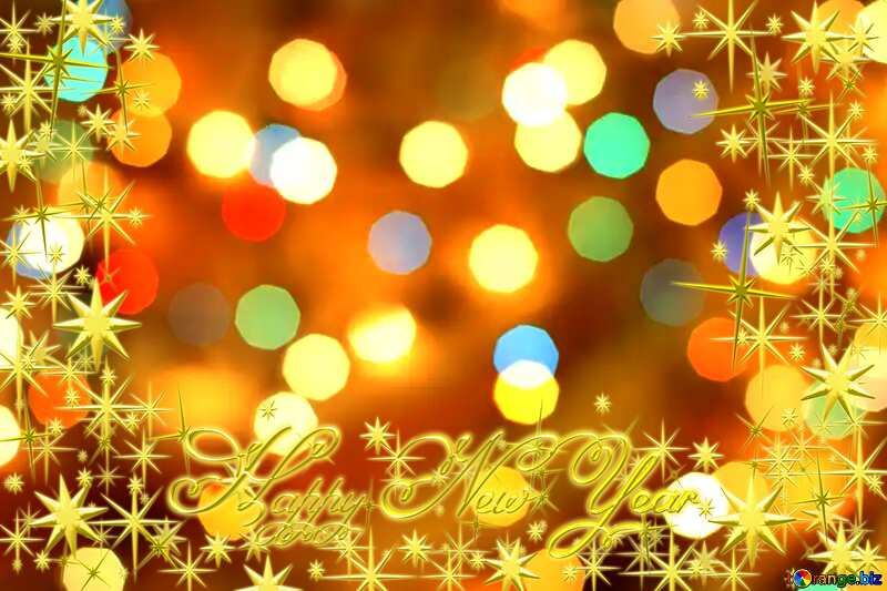 Frame gold Happy New Year stars №24617