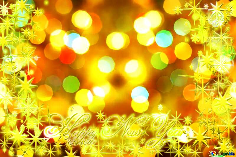 Frame gold Happy New Year stars 3d №24617
