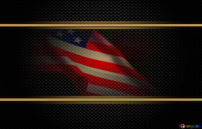 American Flag dark background Carbon Frame Gold Metal Texture №52480
