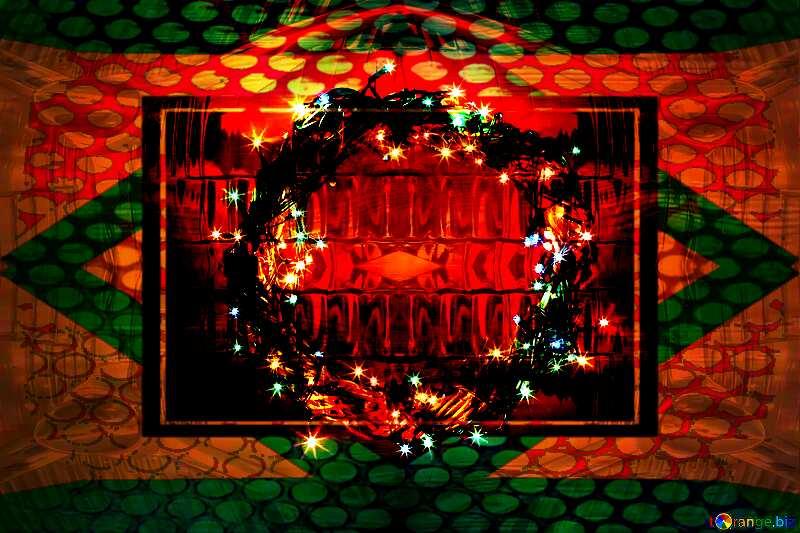 Christmas Art Background Frame Geometric Glass Grill Iron Metal Pattern №48022
