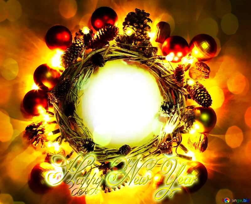 Christmas wreath background with space for text Inscription Happy New Year №48047