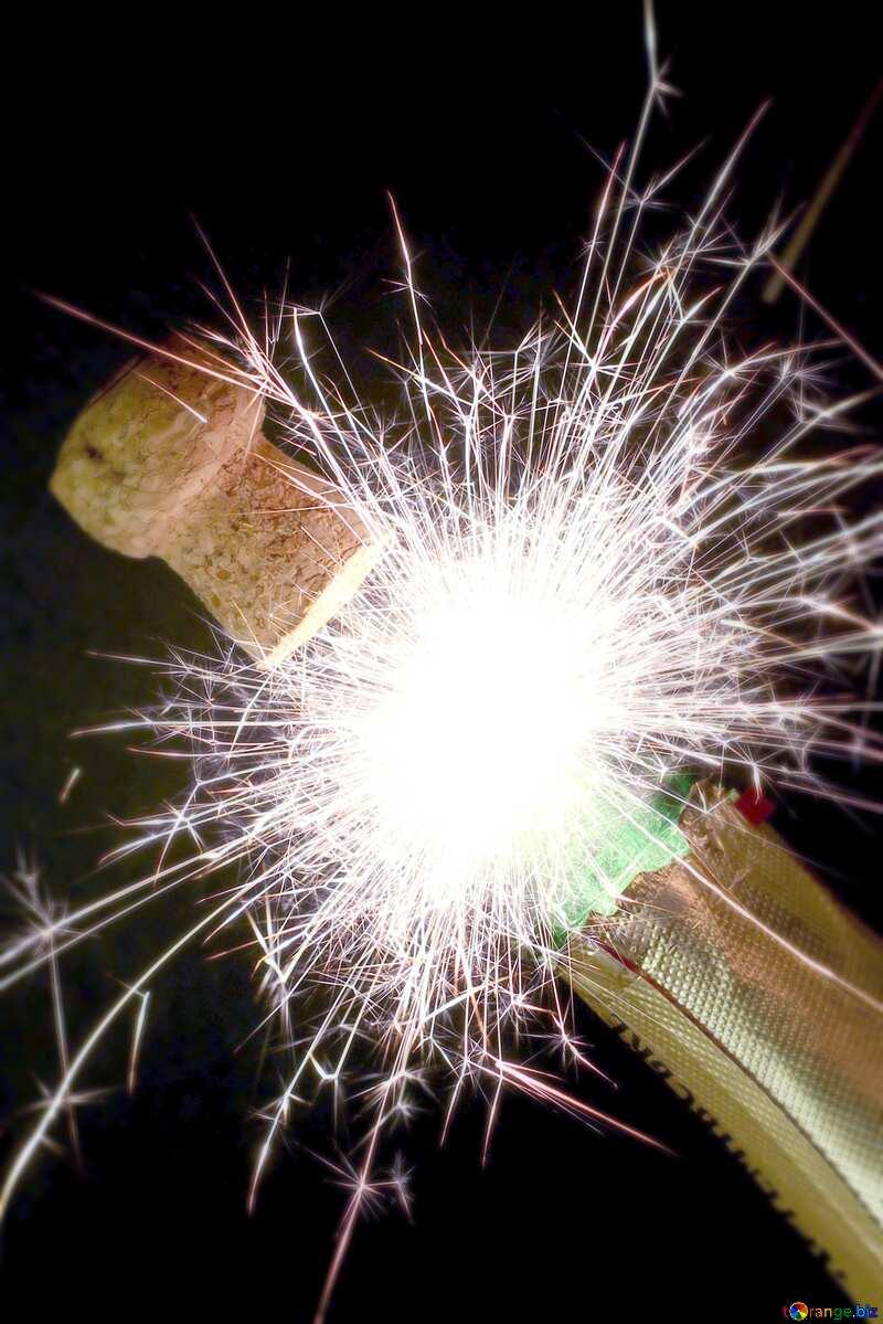 Bottle of champagne blue blur frame №25624