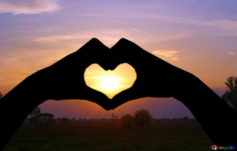 Vivid sunset sun in Hands Heart love №32451
